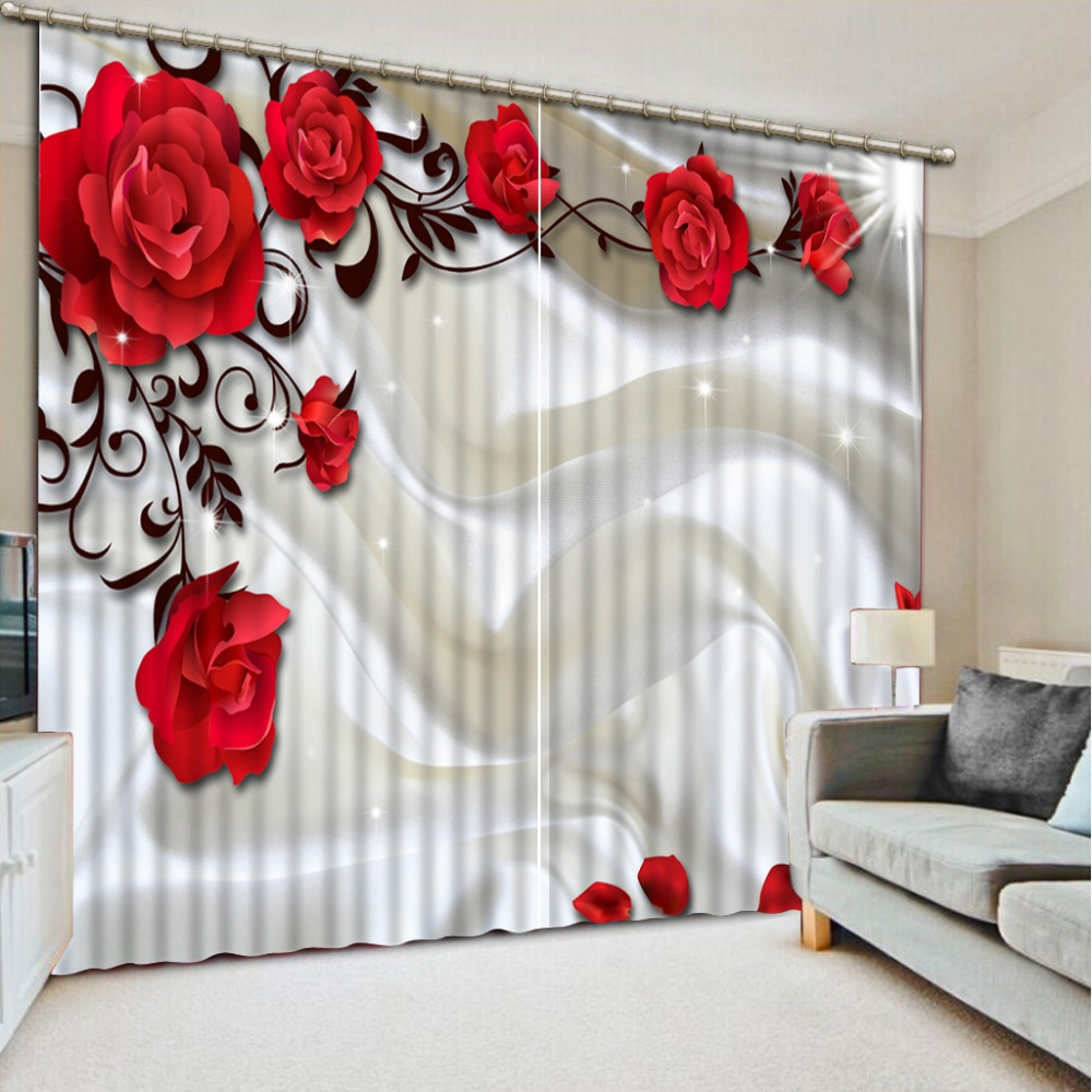 New Big Red Flower Pattern Blackout Curtains For Bedroom Polyester Cotton Customizable 3D The Living Room CL 002
