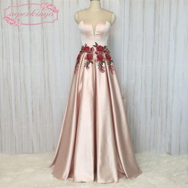 f0d9e42564dcc Superkimjo التطريز الرباط فساتين السهرة الطويلة 2018 pink prom ثوب فتاة فساتين  أنيقة vestidos دي graduacion