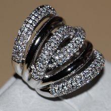 Tamaño 5-11 joyería de Moda Vintage oro blanco 14kt llenó CZ Diamante Simulado Mujeres Compromiso de la Boda Anillo de la Venda con caja de regalo