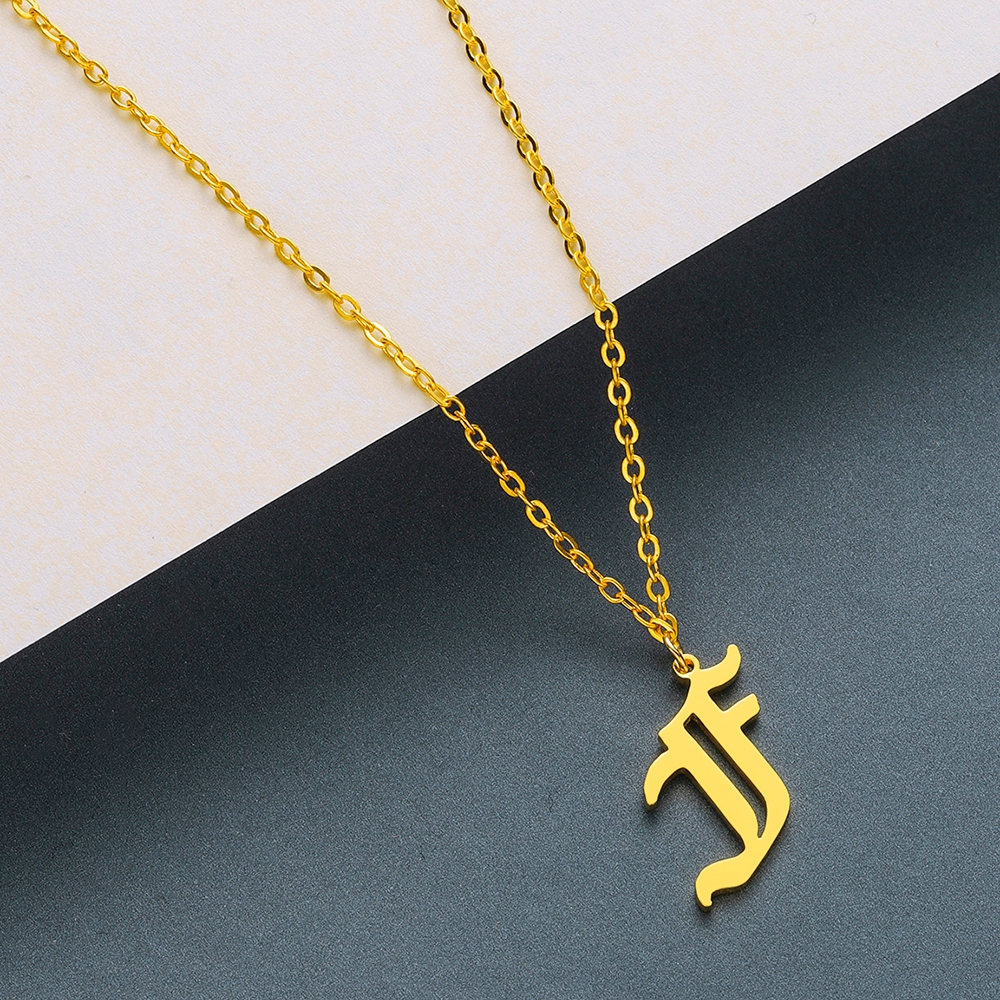 Todorova Old English Custom Capital Initial A-Z Letter Pendant Necklace Men Vintage Font Personalized Necklace Women Jewelry 16