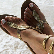 2019 New Summer Women Flats Sandals  Snake Ankle Strap Gladiator Sandals Bling Gold Beach Flat Shoes Women Size 35-43 new fashion summer gladiator ankle strap women shoes flat sandals fretwork flats women leisure footwear size 34 43 pa00798