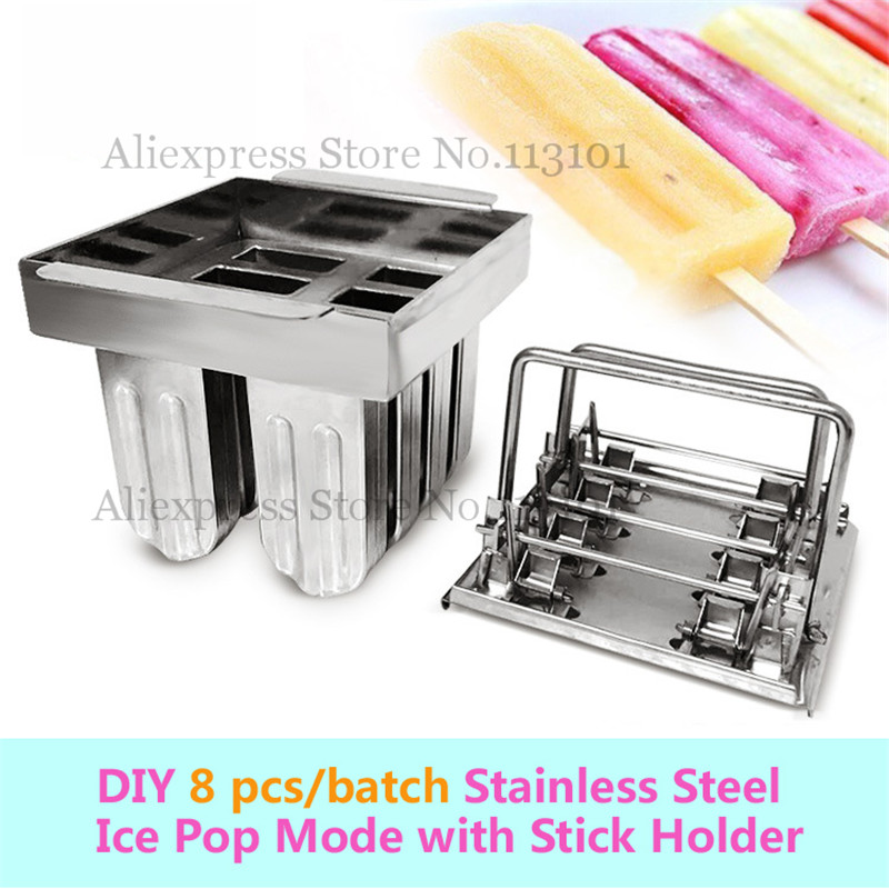 Creative DIY Popsicle Mold Ice Cream Mould with Sticks Holder Stainless Steel 8pcs/Set stainless steel ice pop mould durable repeated use 30pcs set with stick holder