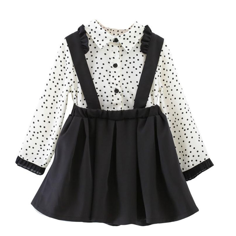 DFXD 2019 Spring Kids Clothes Units Children Garments Child Woman Lace Polka Dot Lengthy Sleeve Shirt+Strap Costume 2pc Woman Set 2-8Yrs Clothes Units, Low cost Clothes Units, DFXD 2019...