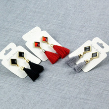 E075 The New Arrival Black Tassel Earrings For Women Fashion Crystal Vintage Tassel Earrings Elegant Graceful Lady Hot Sale