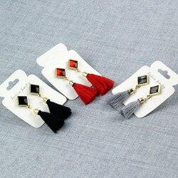 E075 a nova chegada preto borla brincos para as mulheres moda cristal do vintage borla brincos elegante graciosa senhora venda quente
