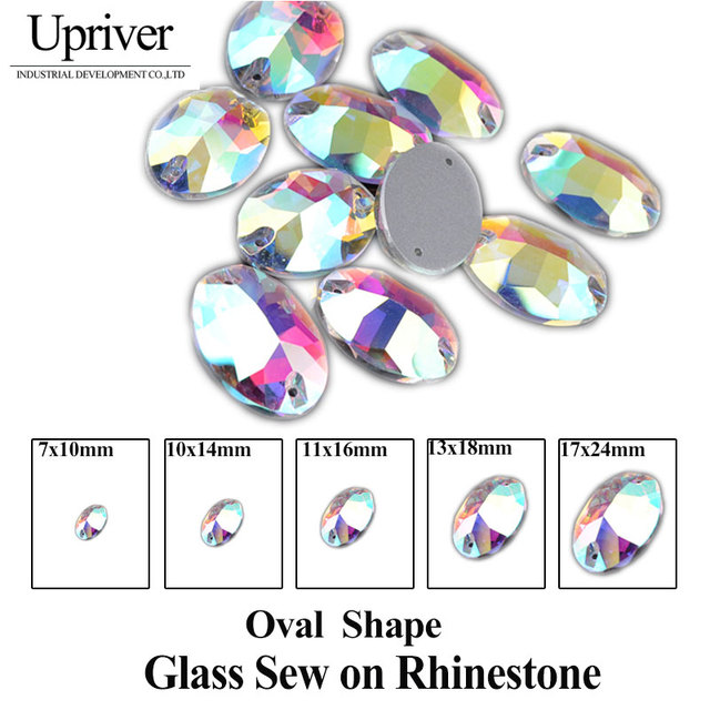 Oval Crystal AB Color Flatback Sew On Rhinestones 2 Holes Crystal Sewing Stone For Garments Casual Dresses