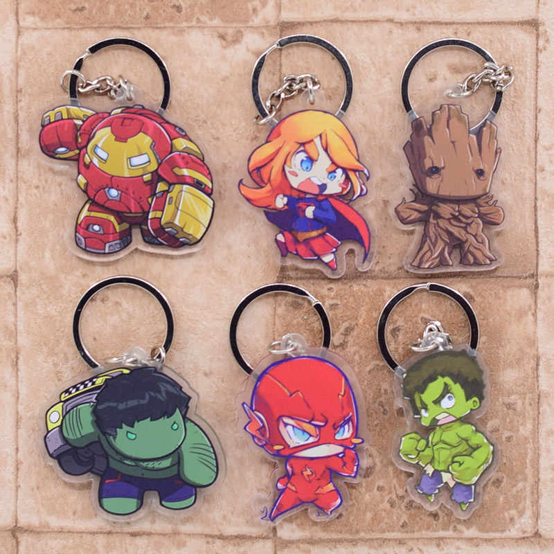 2019 The Avengers Chaveiro Dupla Face Acrílico Pingente Acessórios Anime Dos Desenhos Animados do Anel Chave Da Corrente Chave