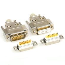 26 Pin D-SUB DB26 серийный разъем позолоченный Медь прямой ноги разъем 3 ряда гарпун сварные пластины разъем заклепки