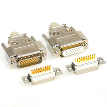 26 Pin D-SUB DB26 Serial Male Socket Gold-plated Copper Straight Leg Connector 3 Rows Harpoon Welded Plate Socket Rivet