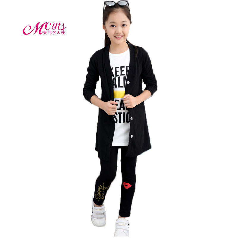 Kids Girls Clothes Sets Spring Autumn Girls Sport Suit 3 Pieces Cotton Cartoon Beard Children Clothing Set 4 6 8 10 12 14 Years children clothing sets for teenage boys and girls camouflage sports clothing spring autumn kids clothes suit 4 6 8 10 12 14 year