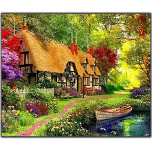 5D Diy Diamond Painting Cross Stitch Cabin In The Forest & Boat Needlework Diamond Embroidery Full Round Mosaic Decoration Resin все цены