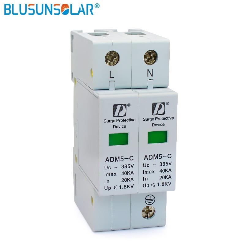 High Quality 20-40kA 2P+N 110V 220V 380V AC Din Rail SPD Low Voltage Surge Protector DeviceHigh Quality 20-40kA 2P+N 110V 220V 380V AC Din Rail SPD Low Voltage Surge Protector Device