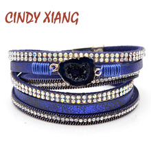 CINDY XIANG 3 Colors Fashion Natural Stone Leather Bracelets For Women And Men Unisex Cuff Bangles Long Twisted Braclets Summer