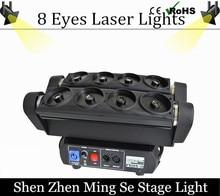 Luz araña 8 ojos RGB a todo color 780 MW araña de cabeza móvil de luz láser para dj equipos