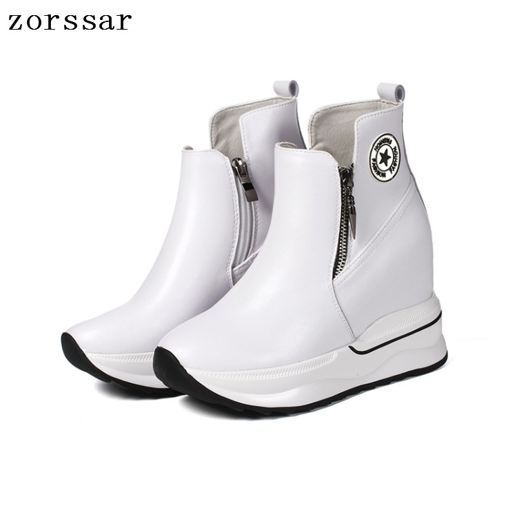 {Zorssar} 2018 New women winter boots Genuine Leather height increasing shoes women high heel ankle boots Platform wedges shoes цена
