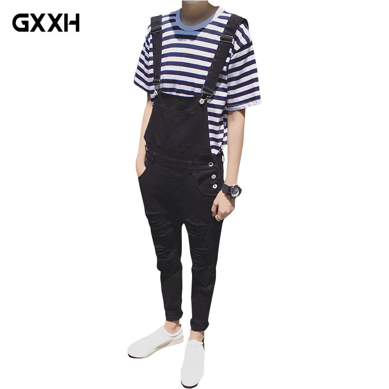 Male Suspenders 2018 New Brand Casual black and white Denim Overalls Ripped Jeans Pockets Men's Bib Jeans Boyfriend Jumpsuits 2016 spring autumn fashion brand mens slim jeane overalls casual bib jeans for men male ripped denim jumpsuit