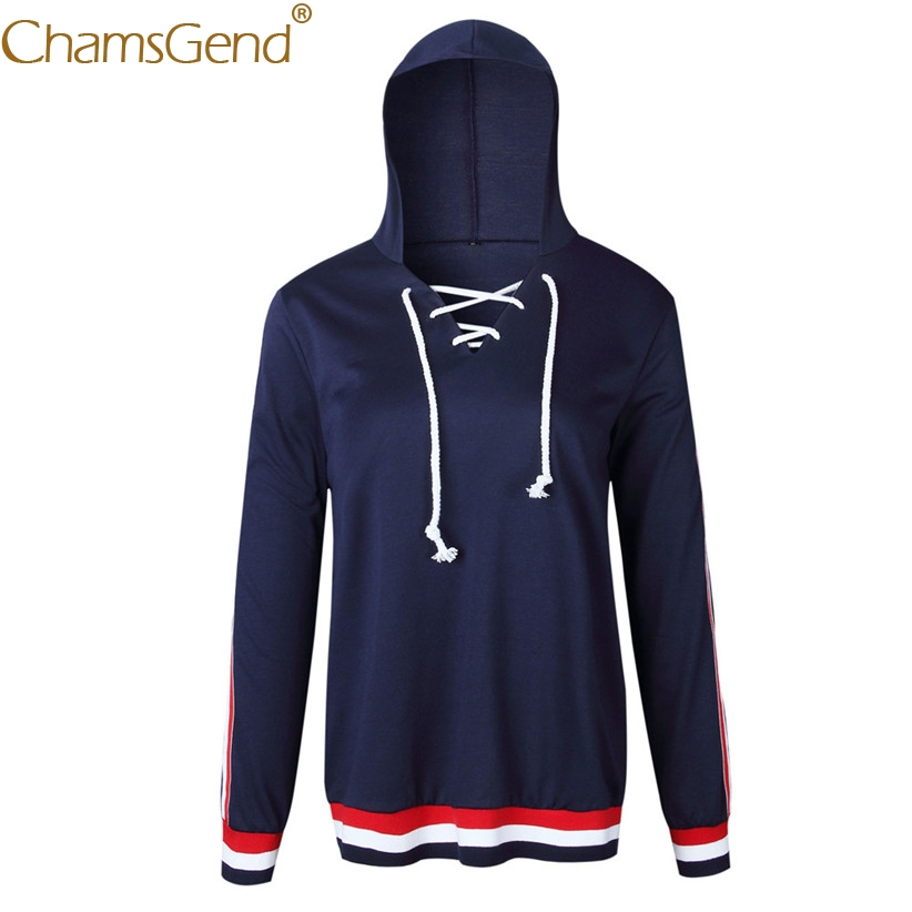Chamsgend Newly Design Women V Neck Lace-UP Striped Long Sleeve Navy Sweatshirt Tops 71108