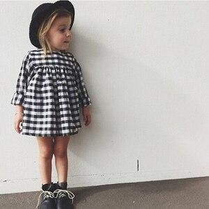Платья для девочек, новинка 2019, костюм для маленьких девочек, платье для девочек, клетчатое европейское платье с длинным рукавом, одежда для ...