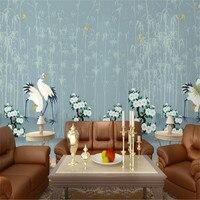 custom 3d photo wallpaper fairy crane flower bird fu guizhu 3d background wall nonwoven murals bedroom home decor wallpaper 3d