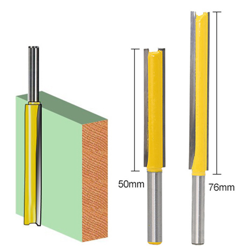 Long Straight 1/4 * 3/8 Router Bit Upper Lower Top Bottom Double Bearing Extra Long Double Cutters Flush Trim Router Bit