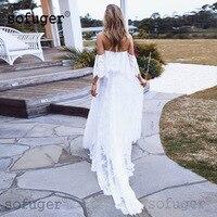 Летнее кружевное платье с короткими рукавами, шифоновая блузка с короткими рукавами свадебное платье для беременных; Robe De Mariage Sofuge Boho элеган