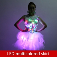 LED multicolored skirt Dream Bright Wedding Dress Short Skirt Party lighting props Stage costumes props