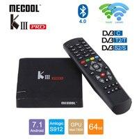 MECOOL KIII PRO DVB T2 DVB C DVB S2 Android 7,1 IP ТВ коробка 3 GB 16 GB ТВ приемник 4 K 1080 p Поддержка CCCAM NEWCAMD Biss ключ PowerVU
