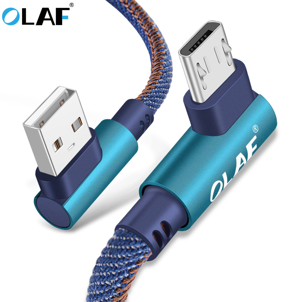 OLAF 2m Micro USB Cable 2A Fast Charger USB Cord 90 degree elbow Nylon Braided Data Cable for Samsung/Sony/Xiaomi Android Phone