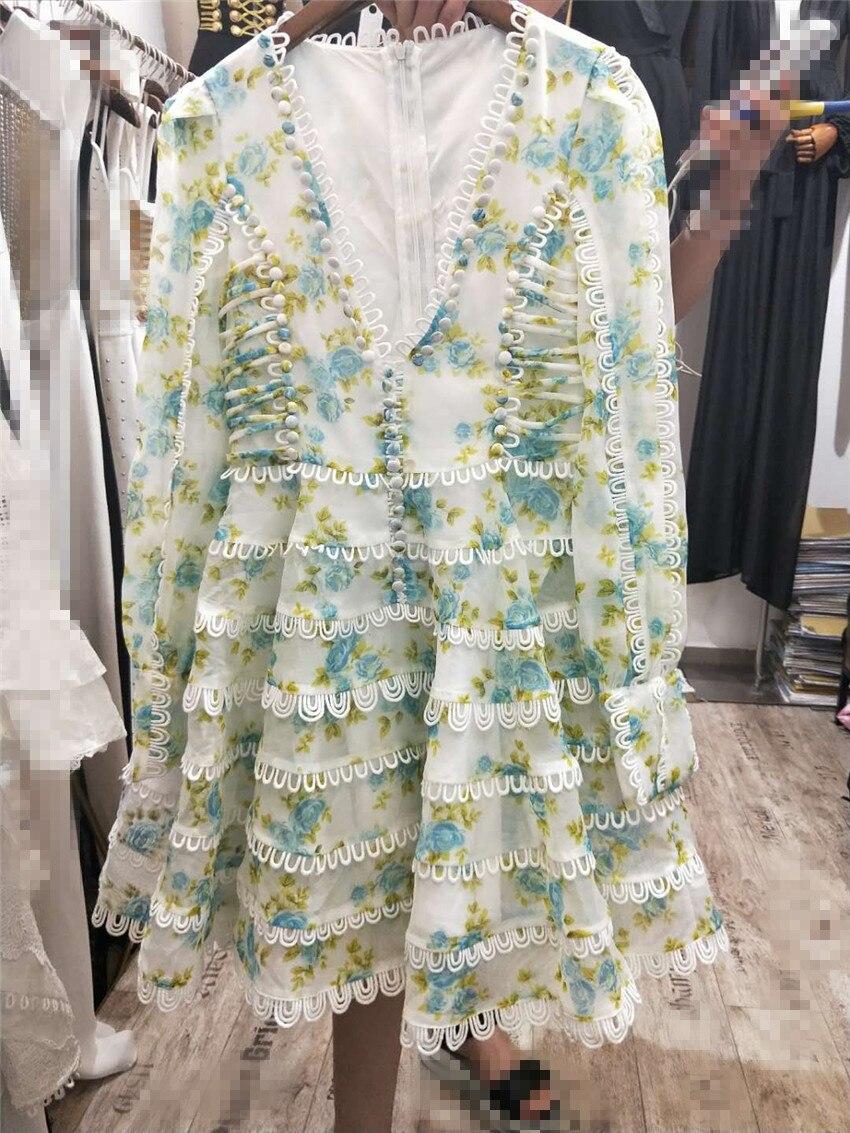 Sexy UM Vestido De Linha V Neck Chic Celebridade Partido Flowear Imprimir Vestidos Verão 2018 Nova Mulheres Vestidos Oco Out Lace vestido pista - 3