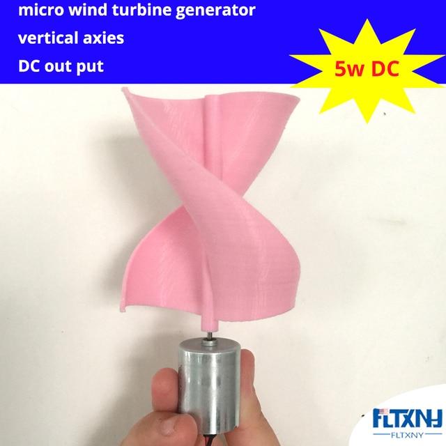 US $28 8 |DC Micro Motor Small LED lights Vertical Axis Wind Turbine  Generator Blades full set DIY wind generator windmill pink color-in  Alternative