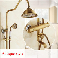 Shower Faucet Thermostatic Shower Faucet Set Antique Bronze Bathroom Rainfall Shower Set With Mixer Tap Wall Mounted Dual Handle