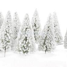 SPMART 10pcs White Scenery Landscape Model Cedar Trees 12cm