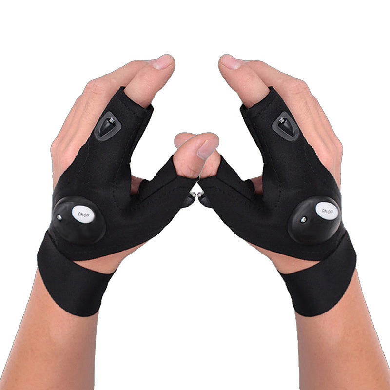 Led Flashlights half Finger Gloves fishing gloves Rescue Gloves Finger Lights for Outdoor Darkness Situation Tool Parts luvas AA цена и фото