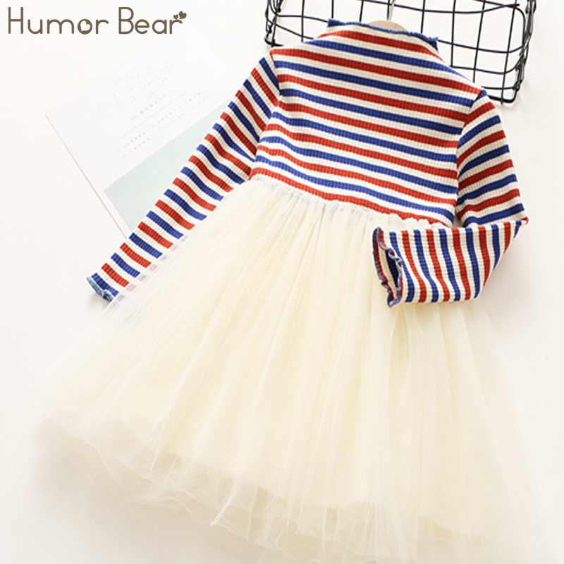 Humor Bear Girls Dress 2017 Autumn And Winter Princess Girls Dresses Fashion Chromatic stripe Kids Dress Childrens clothes