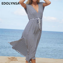1d90edec466 Stripe Sailor Shirt Deep V Neck Flutter Sleeve Belted Side Split Maxi Dress  Summer Style Fit