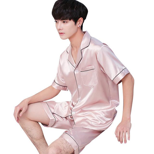 Summer Burgundy 2PCS Shirt&Shorts Satin Pajamas Suit Men Home Clothes Intimate Lingerie Negligee Lounge Nightwear Oversize 3XL