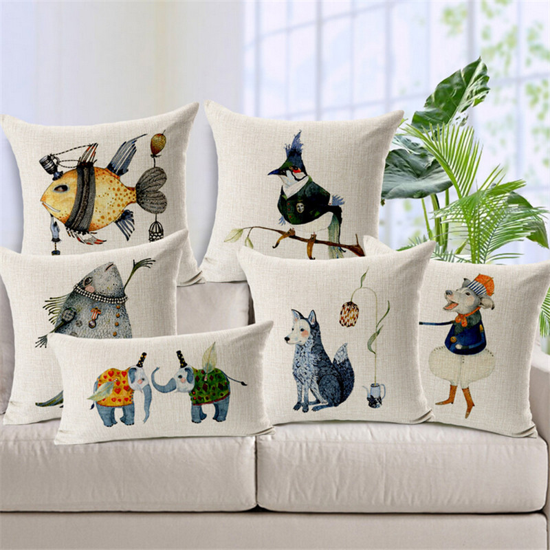 Scandinavian Animal Cushion Covers Nordic Linen Cotton Decorative Fish Throw Pillow Cover For Sofa Car Cushions Home Decor Cojin
