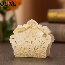 50 Pcs Bronzing Laser Cut Gift Bag Cookie Candy Box Dragees Packaging Party Favors Wedding Bonbonniere Cardboard Chocolate