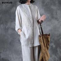 BUYKUD Vintage Linen Embroidered Women Shirt 2018 Summer Autumn Loose Casual Solid Jacquard White Blouse Three Quater Sleeve Top