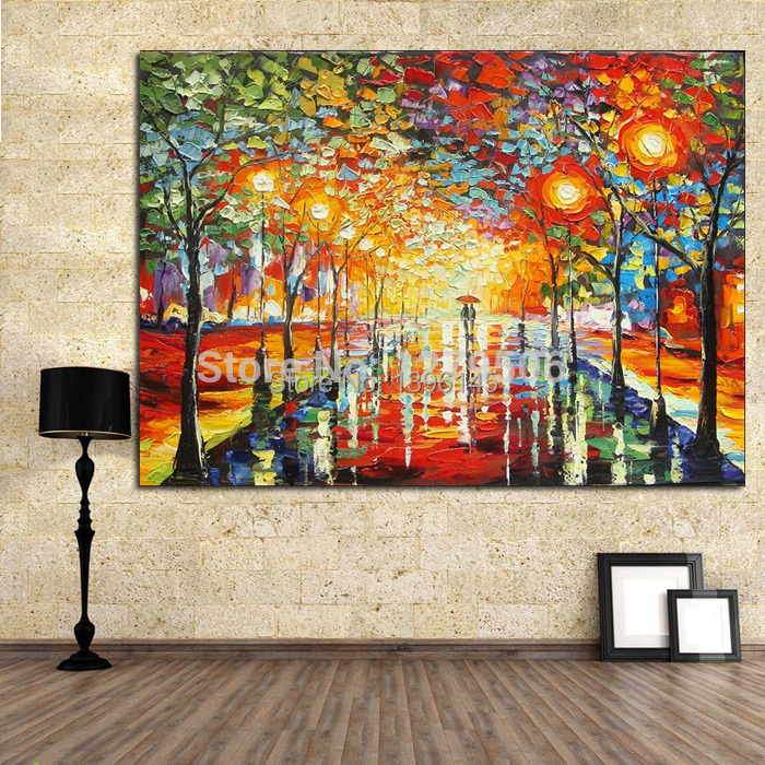 Handmade Modern Abstract Decorative Bright Street Picture Oil Painting On Canvas Wall Art For Living Room As Unique Gift