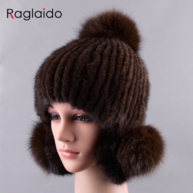 Raglaido Pompom Mink Fur Hats Women Knitted Real Fur Trapper hat handsewing Genuine  Fur Beanies fox fur ear hats LQ11235 56c5f832b64