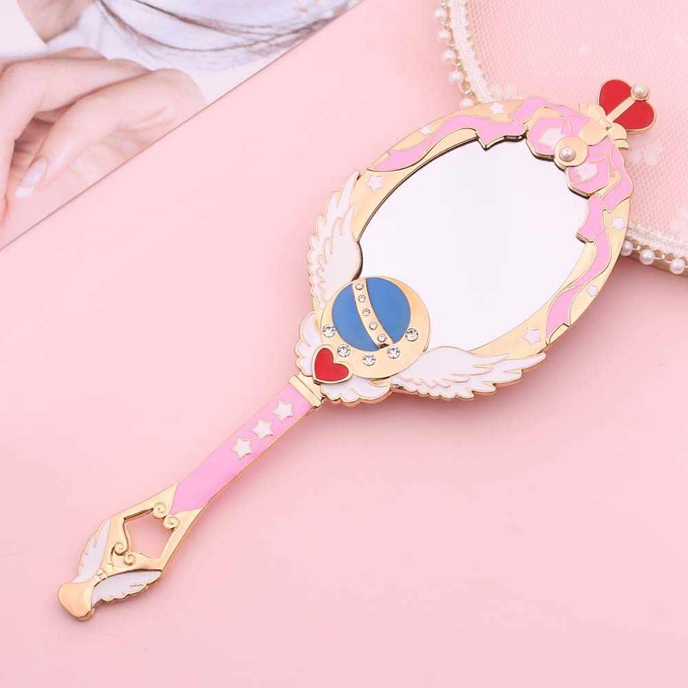 Sailor moon metal oval à mão espelho de maquiagem senhoras menina coroa espelho beleza cômoda maquiagem ferramenta rosa azul espelho com cristal