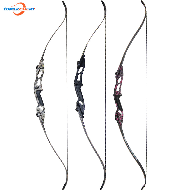56'' 30-50lbs Recurve Bow Take Down Bow 3 Colors Black Camo Purple for Archery Hunting Shooting Sports Aluminum Alloy Longbow 3 color 30 50lbs recurve bow 56 american hunting bow archery with 17 inches metal riser tranditional long bow hunting