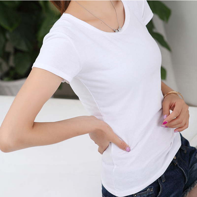 Summer Women T-Shirt Black White Solid Color Top Femlae Short Sleeve O Neck Casual Slim Bottoming Tee Shirt Camiseta Feminina
