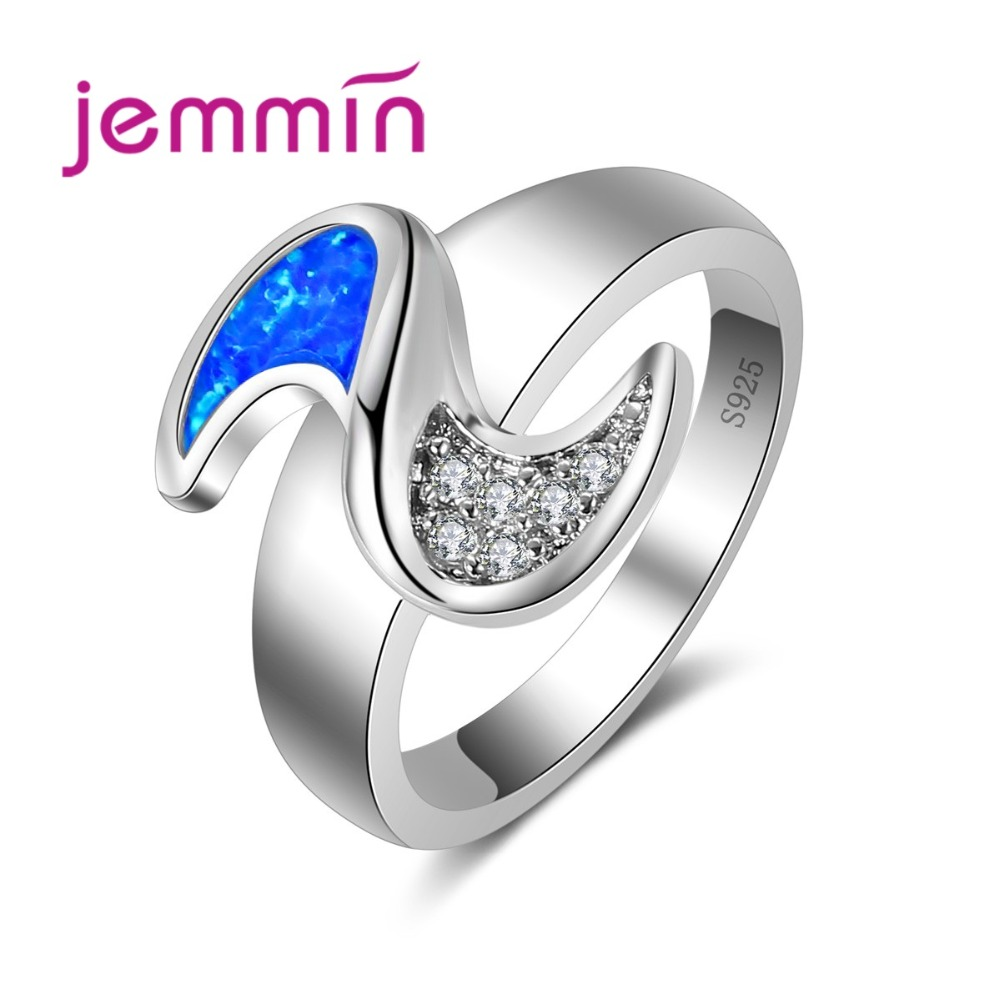 2019 Rings For Women 925 Sterling Silver Bridal Wedding Jewelry Fine Blue Fire Opal Finger Ring For Girls Party Bijoux