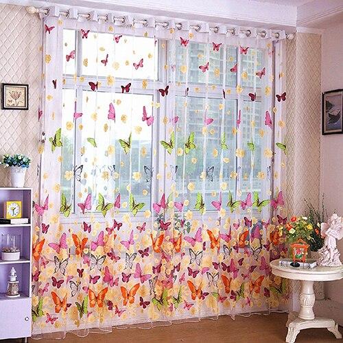 100*200 Cm New Home Schmetterling Gedruckt Tüll Voile Tür Fenster Balkon Vorhänge Für Bett Zimmer Wohnzimmer Vorhang Bequem Und Einfach Zu Tragen