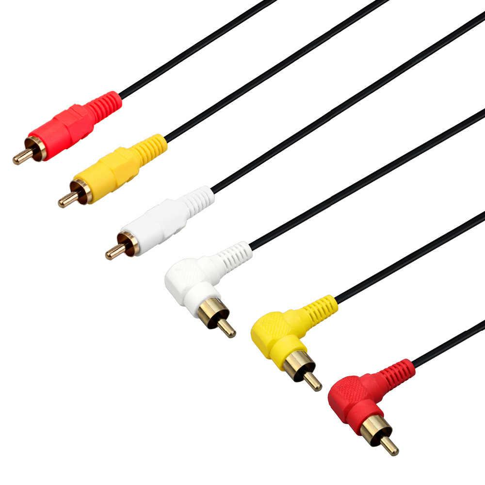 3 RCA ケーブル-プレミアムゴールドメッキ 90 度アングル Rca オーディオ/ビデオケーブル 3 オス 3 男性複合ビデオオーディオ AV ケーブル
