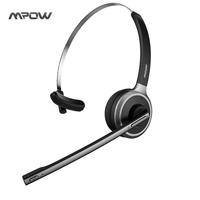 Mpow Bluetooth Headset Wireless Over Head Earpiece Noise Canceling Headphones With Noise Reduction Mic For Call