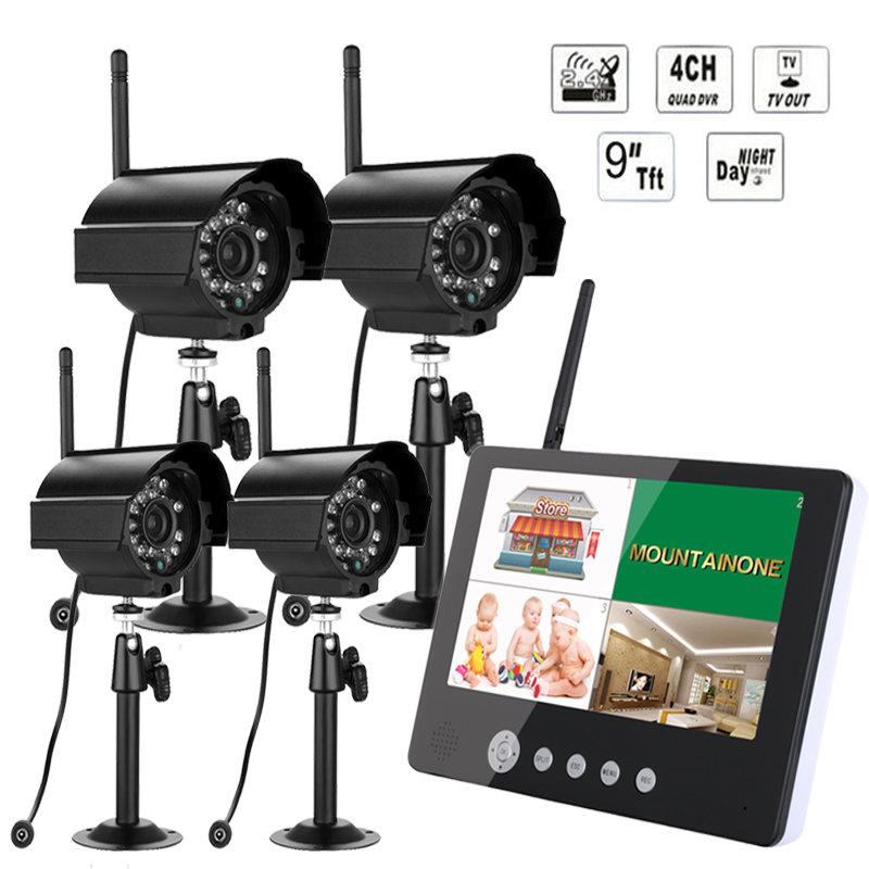 9 inch TFT Digital 2.4G Wireless Cameras 1V 4 Baby Monitors 4CH Quad DVR Wireless Kit Home CCTV Security System, IR night light цена 2017