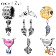 Choruslove Angel Wing Charm 925 Sterling Silver Guardian Love Beads fit Pandora Charms Valentines Day Gift Bracelet DIY Jewelry